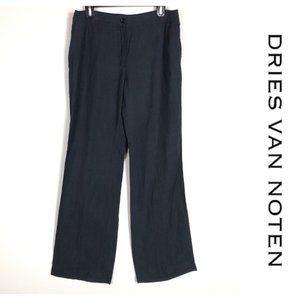Dries Van Noten Black Linen Trouser Pants Size 42
